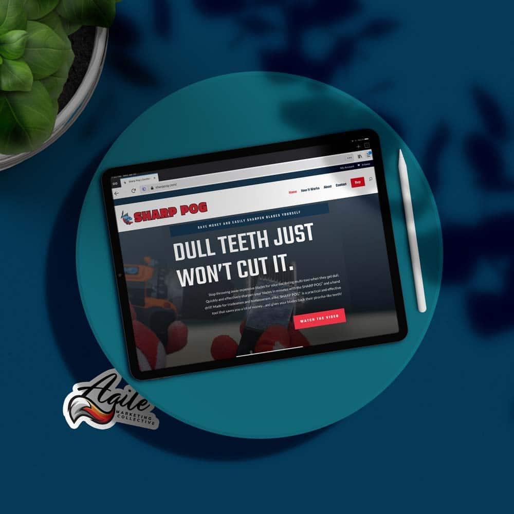Sharp Pog website on an iPad pro