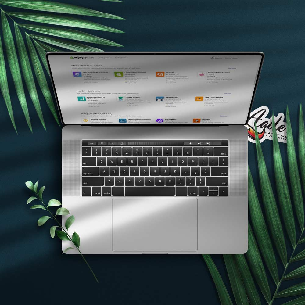 Shopify app store on a computer screen
