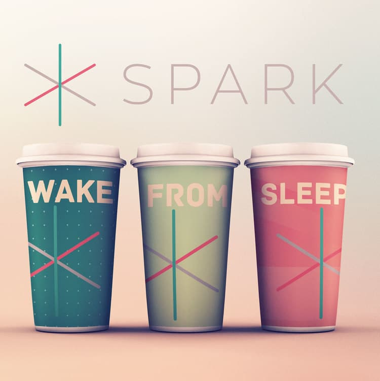 Three coffee cups that say