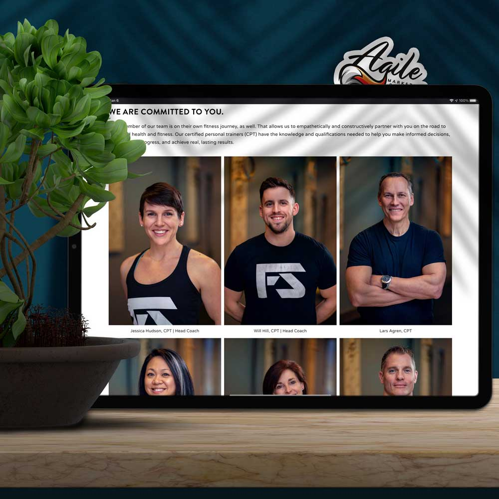 A line of head shots on a website