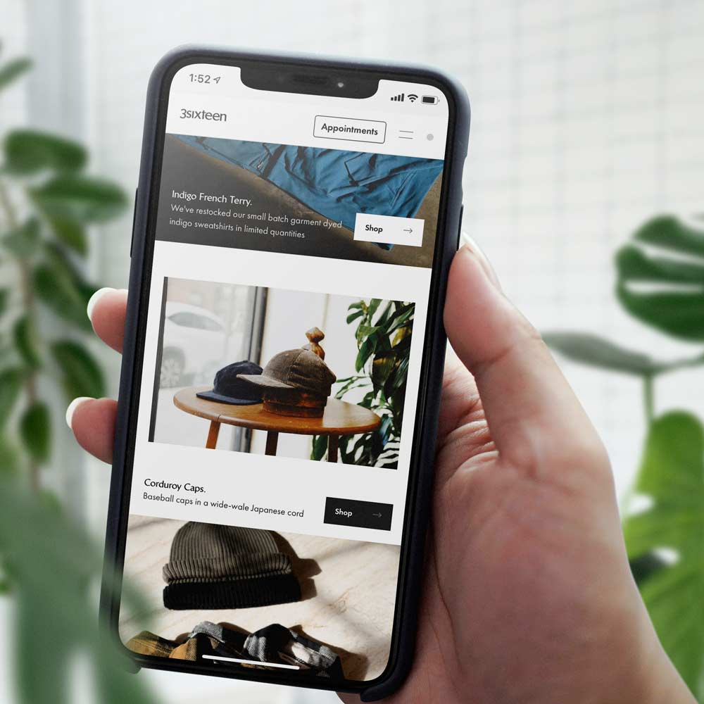 Example Shopify store on mobile device