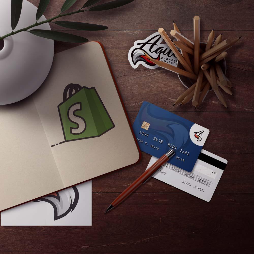 Credit card lying on a desk