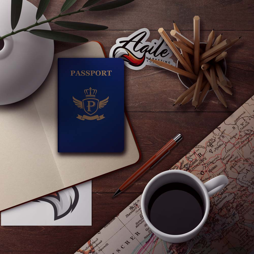 Passport and map on a desk